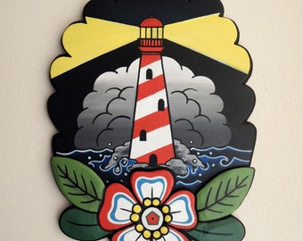 Lighthouse with Flower, Old School, Handmade