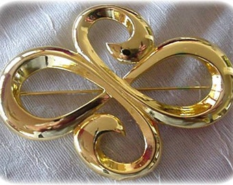 Large Open Work Gold Brooch