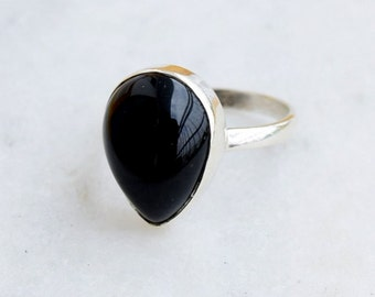 Silver Ring, Black onyx Ring, Stone Ring, Silver Black Ring, 92.5 Sterling Silver, Black onyx Silver Ring, Size US 5 6 7 8 9 10