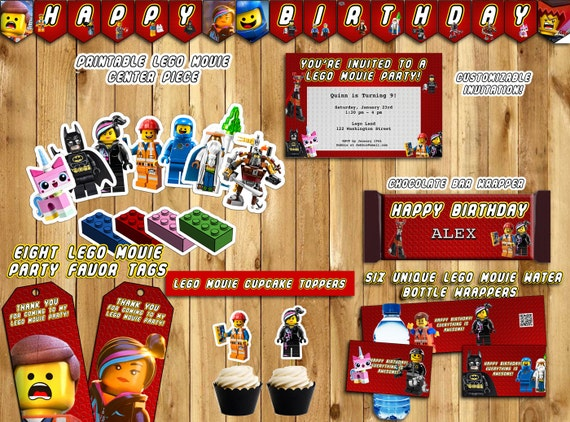 Instant DIY The Lego Movie Birthday Party Download, Birthday Banner, Invite, Cupcake Toppers, Favor Tags, Water Bottle Wraps, Center piece