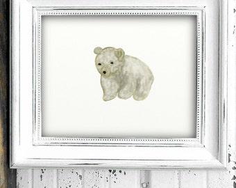 Baby Polar Bear cub- art printable digital download printable art- boy nursery- arctic animal- nursery decor- animal print boys nursery 8x10