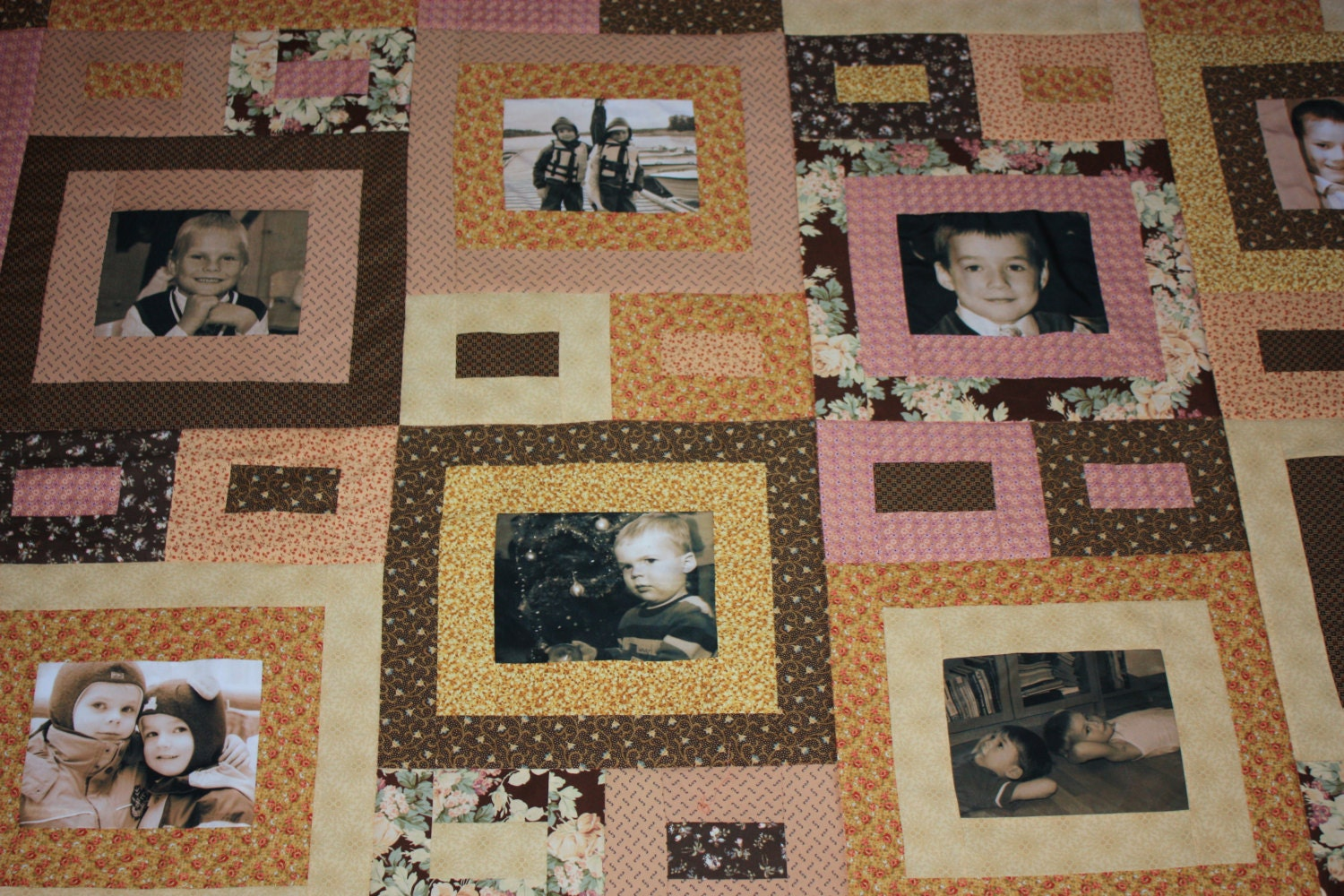 personalized photo quilt photo frames in brown peach using family photos customized photo quilt heirloom memory quilt with photos