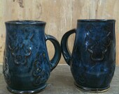 Pair of Wheel Thrown Pottery Mugs in Floating Blue with Lace Patterns 18 oz