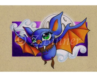 Flying Bat A4 Art Print