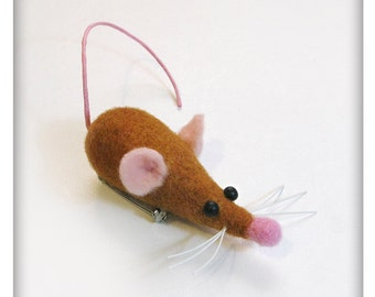Cute Little Mouse,  Needle Felted Brooch, Pin, Wearable Art, OOAK, Jewelry, one-of-a-kind