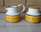 "Midwinter ""Sun"" Sugar and Creamer Set Made in England ~ in white orange yellow & brown"