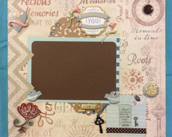 "Premade ""Missing You"" scrapbook page"