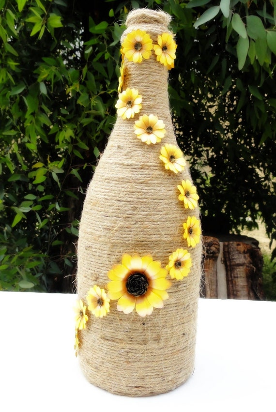 Paper sunflower decor wrapped wine bottle decorated