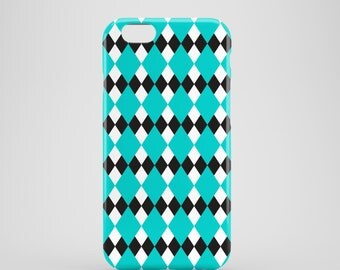 Turquoise Argyle iPhone 7 case / black and white iPhone 7 case / tribal iPhone 7 case / mint iPhone 6 case / iPhone SE cover