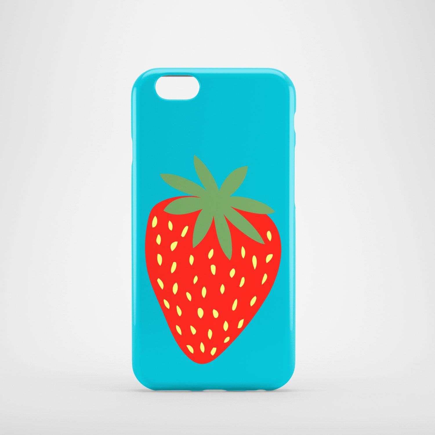 Giant Strawberry phone case / Bright iPhone 8 case / blue