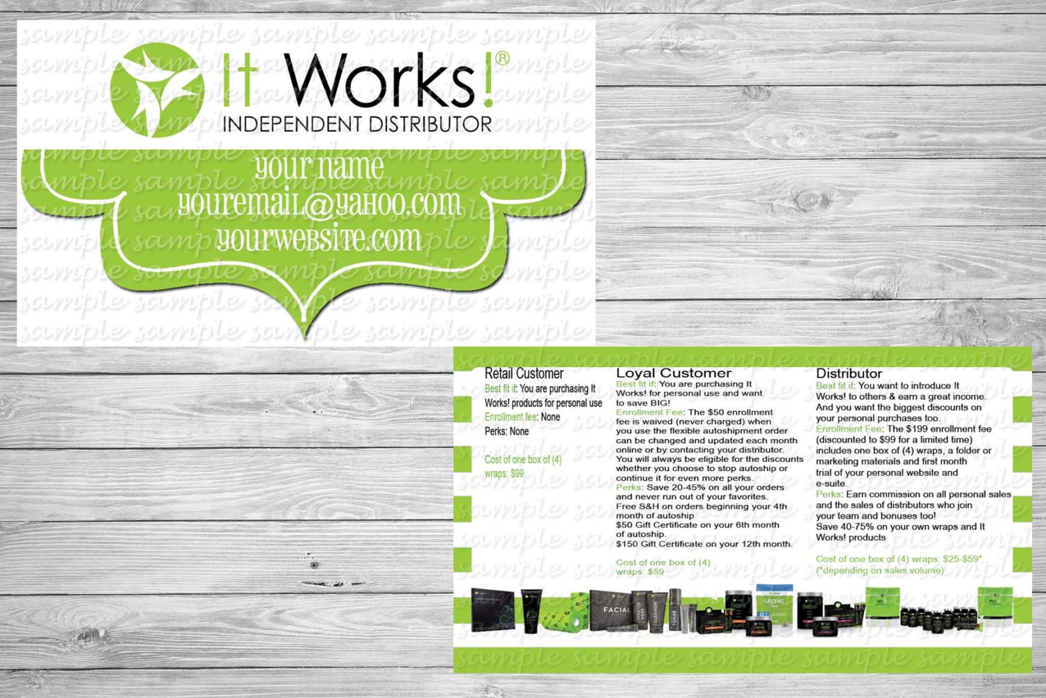 Green and White It Works business card by cottoncandykisses4