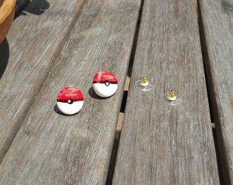 Pokemon Pokeball Anime Japanese Kawaii Stud Earrings