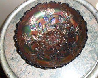 Carnival Glass Vintage Fenton Blue ''HOLLY'  Ice Cream Shaped Bowl - Collectilbe Carnival Glass - Collectible Art Glass (230)
