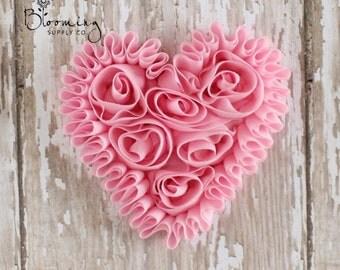 CLEARANCE! Pink Unfrayed Chiffon Heart - Rosette Heart Applique - Valentines Day Flower Supplies - Wholesale Flowers -Boutique Hair Supplies