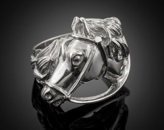 Solid Sterling Silver Horse Head Men's Ring