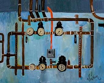 "Art Print Poster - ""Boiler Room Series - Blue"""