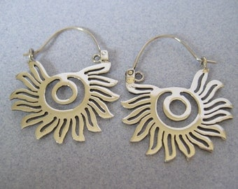Cut Out Pre hispanic Sun Artisan Handcrafted Big Dangling Mexican 925 Sterling Silver from Taxco Mexico Long Shiny Earrings