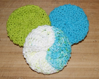 Cotton Crochet Pot Scrubbers- Set of Three, Calypso