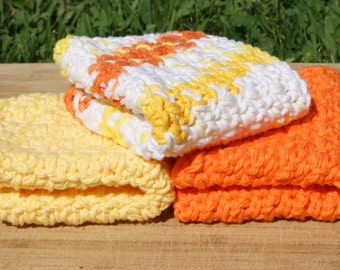 Cotton Dishcloths- Set of Three, Sunburst