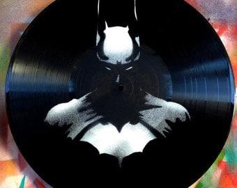 Batman, vinyl record spray paint stencil decoration handmade clock