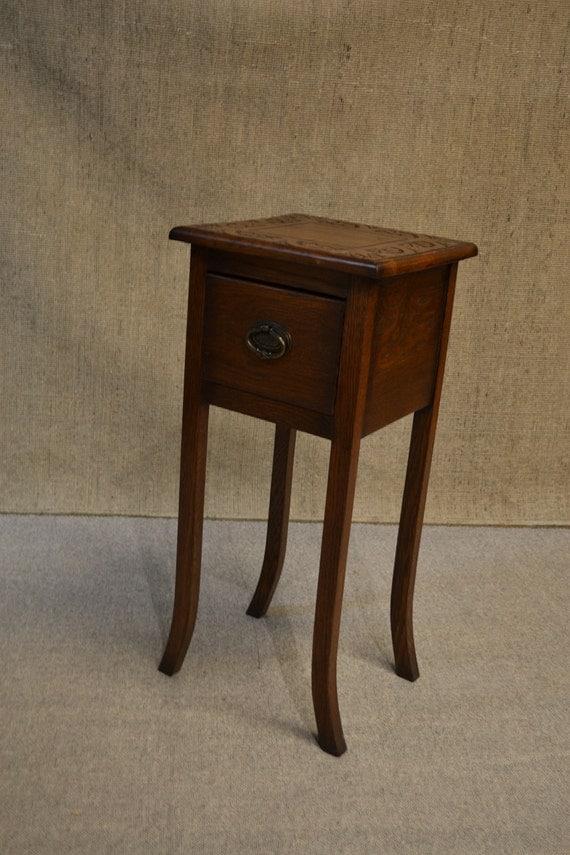 solid oak narrow end table with drawer side by artsandcraftsshop1. Black Bedroom Furniture Sets. Home Design Ideas