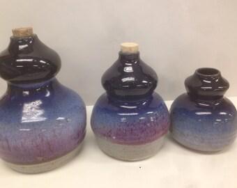 Blue Purplish gourds set of three