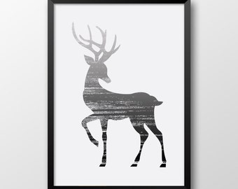 Black and White Deer Print, Animal Wall art, Modern Home decor, Reindeer Print, Printable animal poster 113