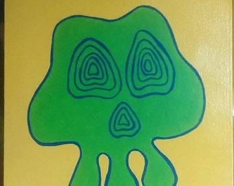 """Wobbly skull 12""""x10"""" painting"""