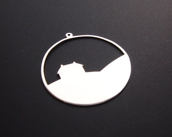 Cynefin - Stackable sterling silver pendant, Countryhouse layer
