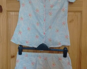 cherry blossom blue pajama set