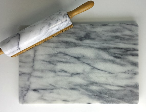 Vintage Marble Pastry Board With Rolling Pin White Grey