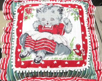 Kitten Hankie Turned Pillow/ Handcrafted Pillow/ One of a Kind/ 50s Vintage Hankie/Handmade Pillow