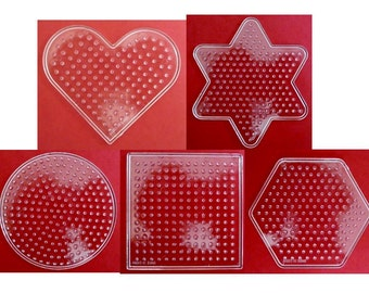 Set of 5 New FUSE BEAD PEGBOARDS Heart Star Circle Square Hexagon      works great with Perler      board