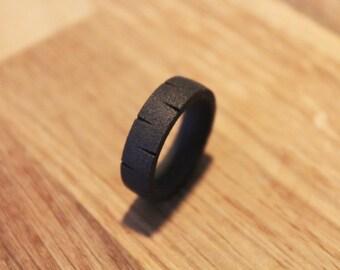 Fenrir - Rustic and Antic Matte Black Viking Steel Ring Band