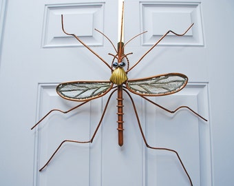 "Mosquito Garden Sculpture, Outdoor Sculpture, Copper and Stained Glass ""Wall Hanger""  3"