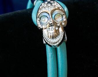 Big women's Rhinestone skull bangle bracelet