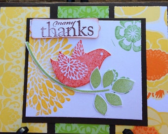 Handmade thank you card- thank you card- grateful-gratitude card-bird card-friend card