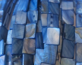 Ocean blue shell beads 15mm (full strand)