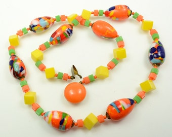 Art Glass Necklace Made in West Germany