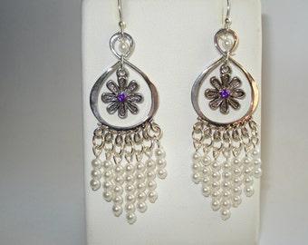 Faux Pearl Dangle Earrings with Purple Crystal on Flower