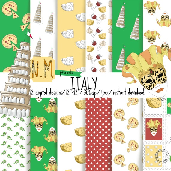 Travel digital paper, summer vacation scrapbook paper, travel digital pattern, Italy, Venetian mask, pizza, red wine, stamps, tower of Pisa