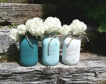 Rustic cottage mason jars, mason jar vase, shabby mason jars, farmhouse mason jar, country chic jar,  turquoise mason jar, flower mason jar