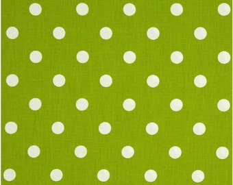 1/2 Yard Green and White Polka Dot Fabric - Premier Prints Chartreuse and White Polka Dot Fabric HALF YARD lime green