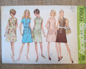 Vintage 1970's Simplicity Sewing Pattern 8809 Misses Jiffy Dress, Simple To Sew