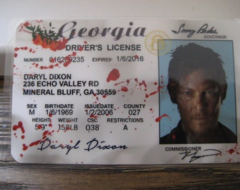 The Walking Dead [ Daryl ]  Blood spatter  Driver License - B3G1F