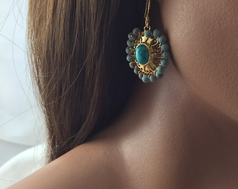 Gold plated brass dangle earrings