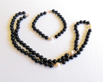 14K Yellow Gold and Black Onyx Beaded Necklace and Bracelet with Pearls ~ Gift for Her