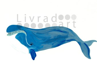 Big Whale Watercolor Print