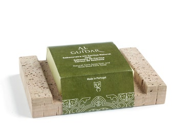 Natural Cork Soap Dish with Handmade Cork Soap   Olive Seed