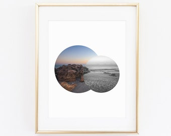 Seashore Photography Print, Instant Download, Digital Print, Ocean Photography, Ocean Sunset, Sunset Print, Geometric Print, Circle Art